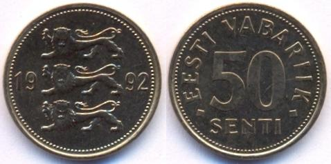50 senti eesti vabariik 1992 mykaps
