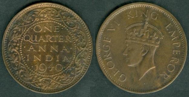 British India coinage under George VI 1938-1947