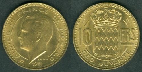 20 FRANCS COIN 1951 YEAR KM#131 MONACO