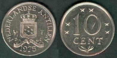 Netherlands Antilles 1975-10 Cents nickel Coin Crowned shield